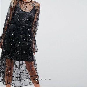 ASOS Star Embellished Smock Midi Tulle Dress